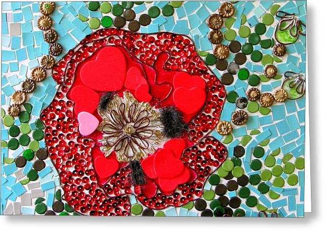 Sequin Drawings Greeting Cards - Poppy Greeting Card by Maria Joy