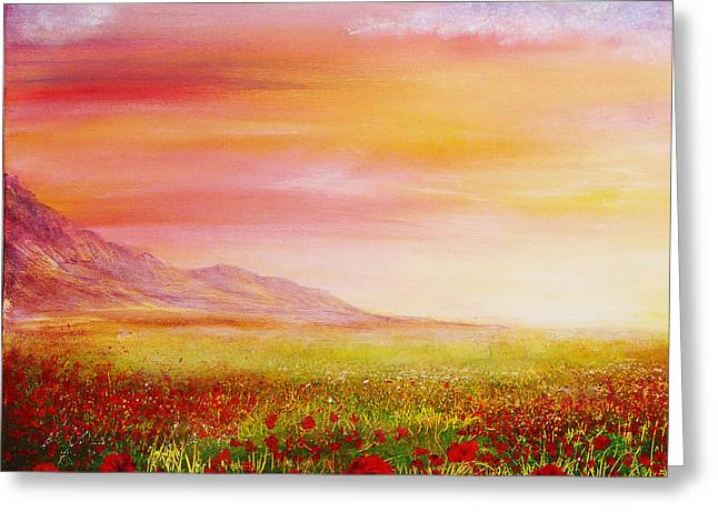 Kinkade Greeting Cards - Poppy Meadow Greeting Card by Ann Marie Bone