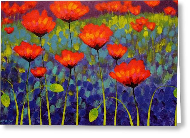 Acrylic Greeting Cards - Poppy Meadow   cropped 2 Greeting Card by John  Nolan