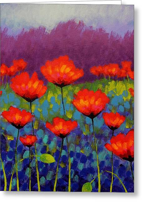 Acrylic Art Greeting Cards - Poppy Meadow   cropped Greeting Card by John  Nolan