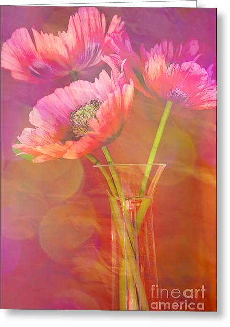 Glass Vase Greeting Cards - Poppy Passion Greeting Card by Jan Bickerton