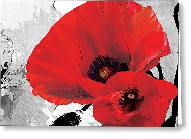 Botanical Greeting Cards - Poppy Red and Black A Greeting Card by Grace Pullen