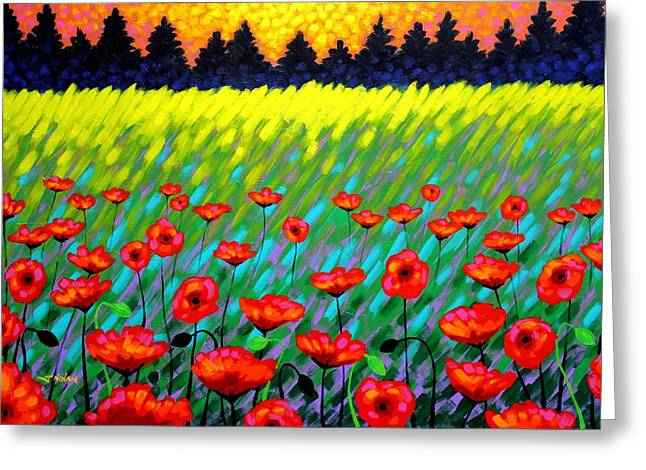 Nature Framed Prints Greeting Cards - Poppy Scape Greeting Card by John  Nolan
