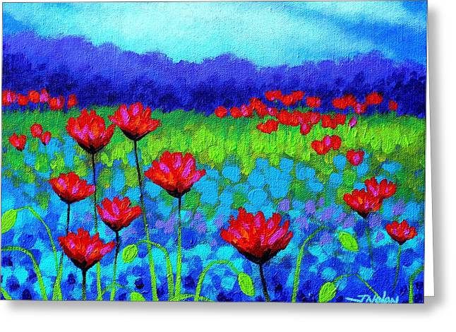 Acrylic. Green Greeting Cards - Poppy Study Greeting Card by John  Nolan