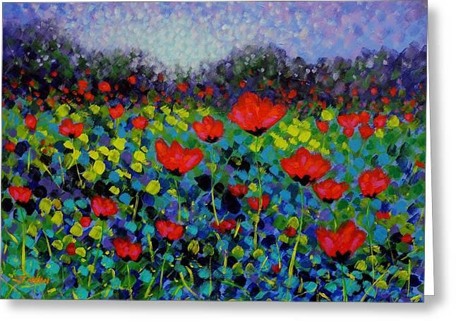 Movement Greeting Cards - Poppy Vista Greeting Card by John  Nolan