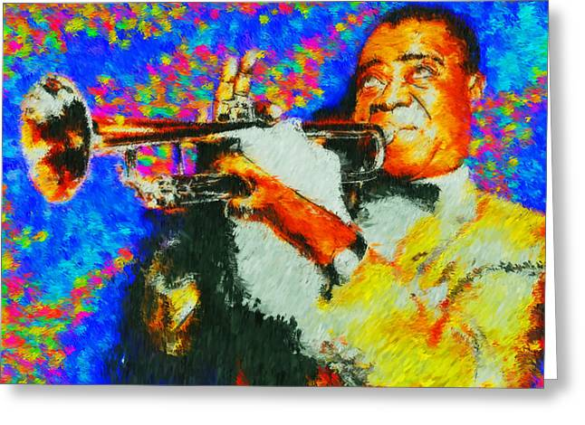 Jazz Greeting Cards - POPS Louis Armstrong Greeting Card by Kevin Rogerson