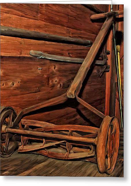 Pop's Old Mower Greeting Card by Michael Pickett