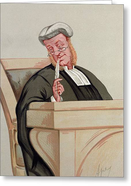 Caricature Portraits Greeting Cards - Popular Judgement, From Vanity Fair, 1st January 1876 Colour Litho Greeting Card by Carlo Pellegrini
