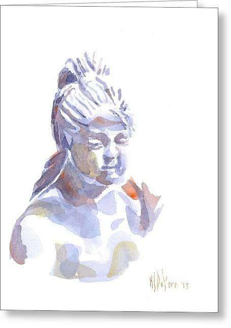 Ceramic Sculpture Greeting Cards - Porcelain Maiden in Watercolor Greeting Card by Kip DeVore