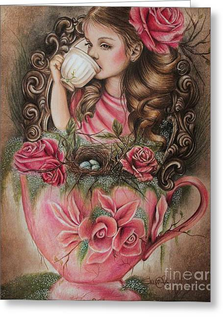 Coloured Pencil Greeting Cards - Porcelain Greeting Card by Sheena Pike