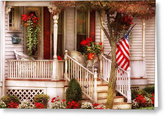 Stair-rail Greeting Cards - Porch - Americana Greeting Card by Mike Savad