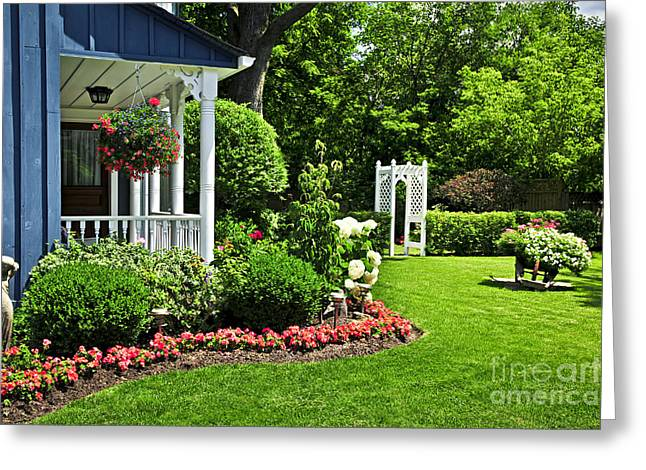 Summer Landscape Photographs Greeting Cards - Porch and garden Greeting Card by Elena Elisseeva