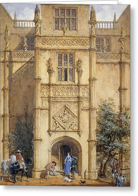 Entrance Door Greeting Cards - Porch At Montacute, 1842 Greeting Card by John Nash