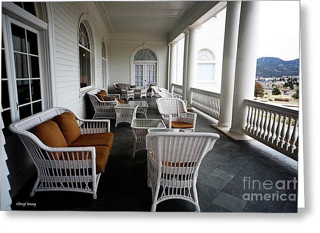 Cushion Greeting Cards - Porch at the Stanley Greeting Card by Cheryl Young