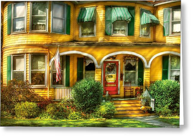 Summer Awnings Greeting Cards - Porch - Cranford NJ - A Yellow Classic  Greeting Card by Mike Savad