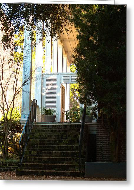 Historic Home Greeting Cards - Porch Door Greeting Card by Allyson Jones
