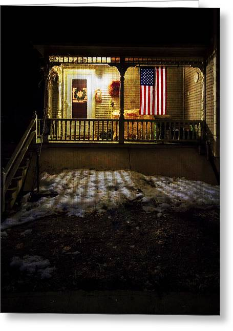 1833 Greeting Cards - Porch Flag Greeting Card by Tom Singleton