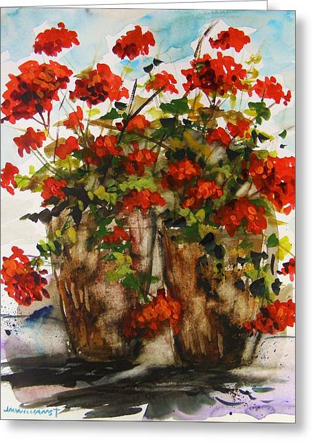 Potted Plants Drawings Greeting Cards - Porch Geraniums Greeting Card by John  Williams