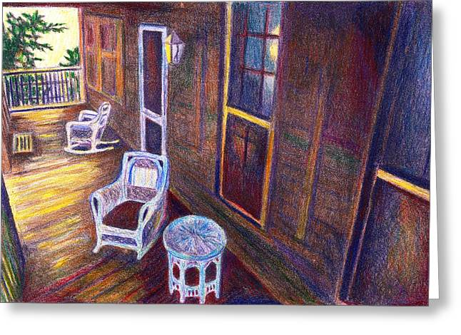 Table And Chairs Mixed Media Greeting Cards - Porch in Golden Light Greeting Card by Kendall Kessler