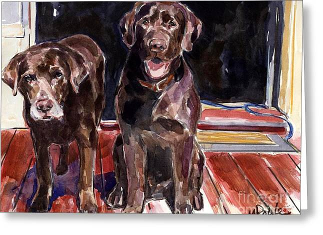 Chocolate Lab Greeting Cards - Porch Light Greeting Card by Molly Poole