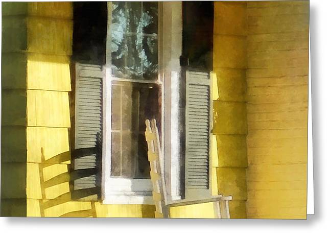 Porch - Long Afternoon Shadow of Rocking Chair Greeting Card by Susan Savad