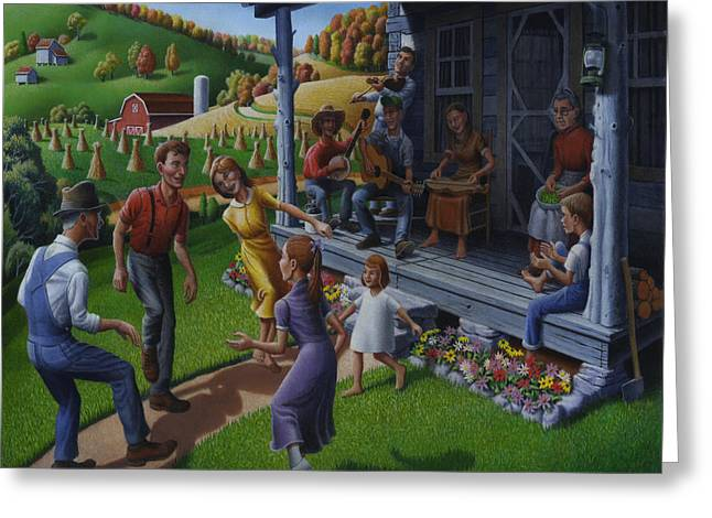 Front Porches Greeting Cards - Porch Music and Flatfoot Dancing - Mountain Music - Farm Folk Art Landscape - Square Format Greeting Card by Walt Curlee