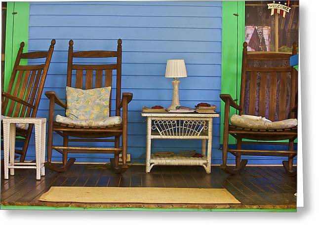 Rocking Chairs Greeting Cards - Porch of Cape May Greeting Card by David Letts