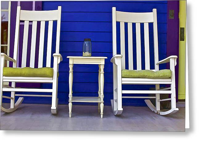 Rocking Chairs Greeting Cards - Porch of Cape May II Greeting Card by David Letts