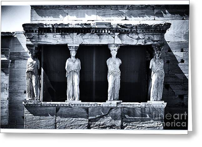 Recently Sold -  - Greek School Of Art Greeting Cards - Porch of the Caryatids Greeting Card by John Rizzuto