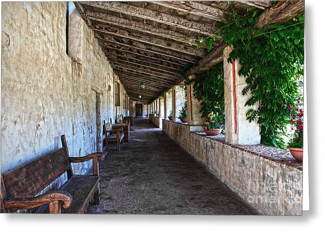 Rafters Greeting Cards - Porch on Carmel Mission Greeting Card by RicardMN Photography