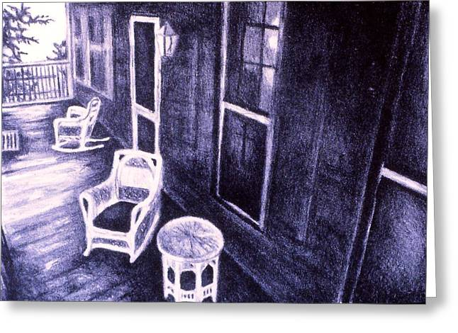 Table And Chairs Drawings Greeting Cards - Porch Original Greeting Card by Kendall Kessler
