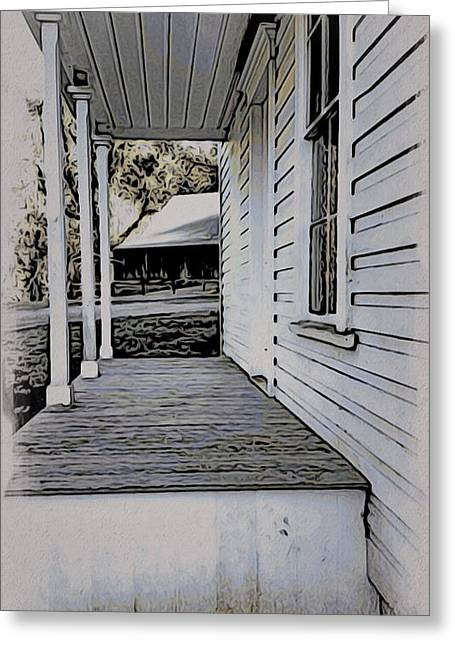 Historic Home Mixed Media Greeting Cards - Porch - Plunkett House Greeting Card by Bonnie Bruno