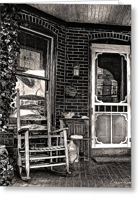 Screen Doors Greeting Cards - Porch Rocker in Black and White Greeting Card by Louise Reeves