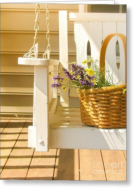 Front Porches Greeting Cards - Porch Swing with Flowers Greeting Card by Diane Diederich