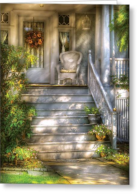 Porch - Westfield Nj - Grannies Porch  Greeting Card by Mike Savad
