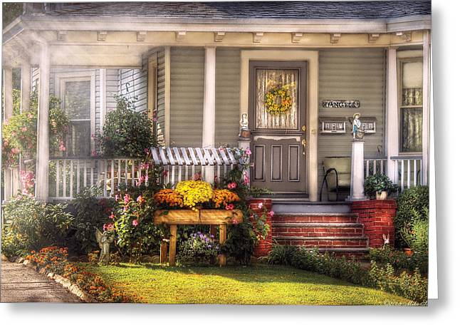 Porch - Westfield Nj - The House Of An Angel Greeting Card by Mike Savad