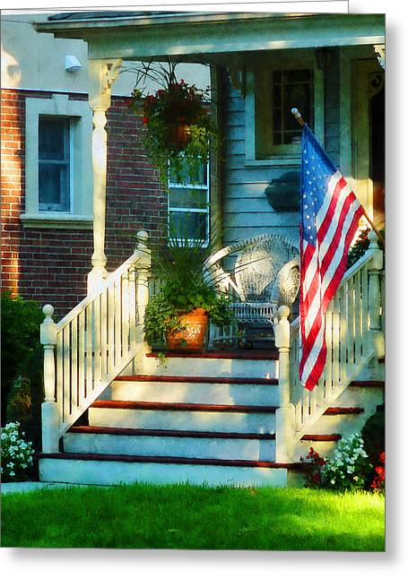 American Flags Greeting Cards - Porch With American Flag Greeting Card by Susan Savad