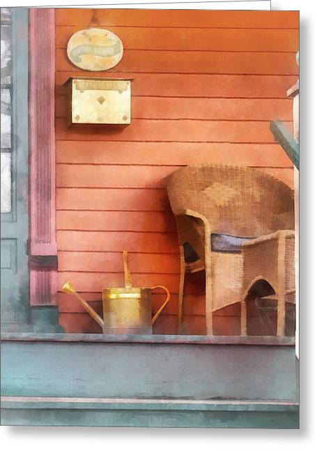 Brass Greeting Cards - Porch With Brass Watering Can Greeting Card by Susan Savad