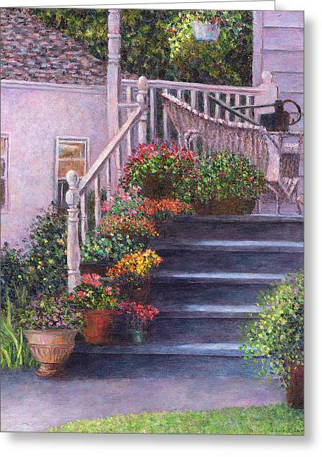 Flowerpots Greeting Cards - Porch with Watering Cans Greeting Card by Susan Savad