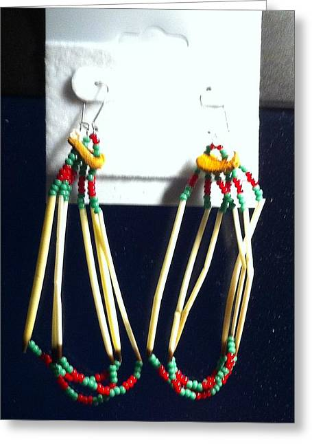 Seed Beads Greeting Cards - Porcupine Quill Earrings Greeting Card by Kimberly Johnson