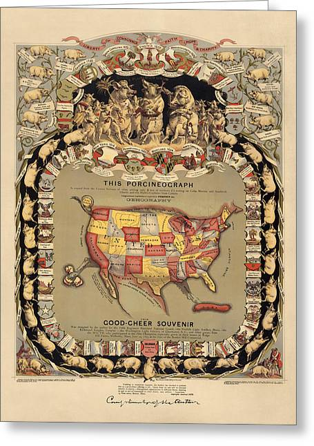 1876 Greeting Cards - Pork Map of the United States from 1876 Greeting Card by Blue Monocle
