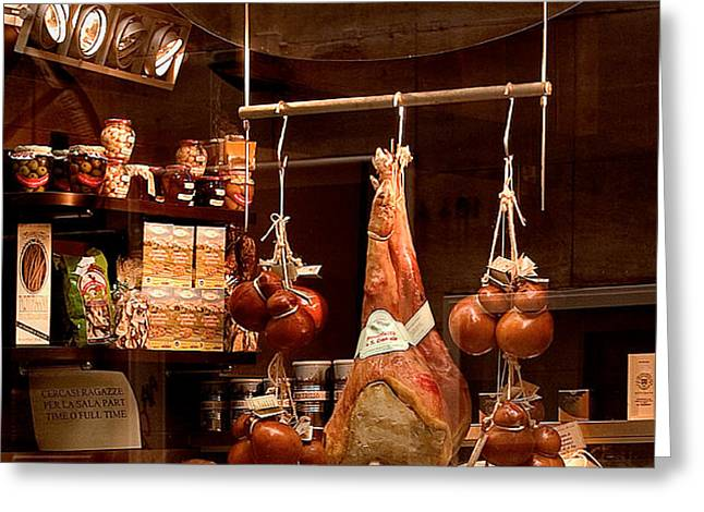 Pork Store Rome Italy Greeting Card by Xavier Cardell