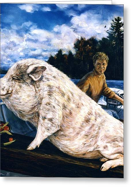 Potbelly Pig Greeting Cards - Porkchop goes aboatin Greeting Card by Rick Reason