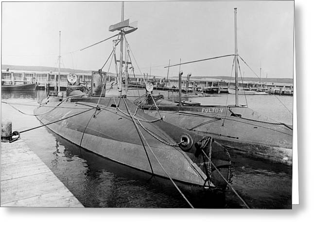 Ss Unites States Greeting Cards - Porpoise and Fulton submarines, 1900s Greeting Card by Science Photo Library