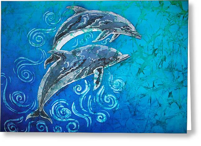 Pairs Tapestries - Textiles Greeting Cards - Porpoise Pair Greeting Card by Sue Duda