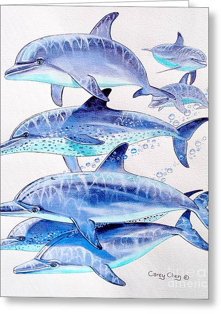 Green Turtle Greeting Cards - Porpoise play Greeting Card by Carey Chen