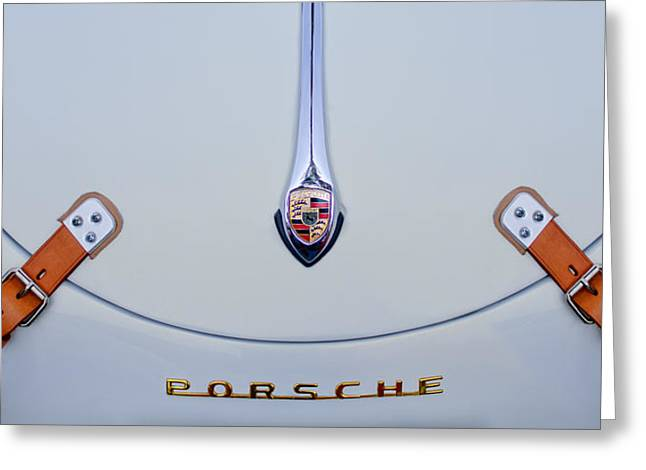 Famous Photographer Greeting Cards - Porsche 1600 Hood Emblem Greeting Card by Jill Reger