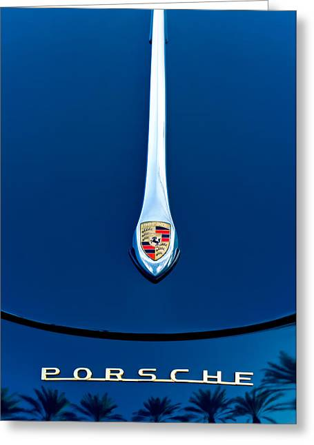 Famous Photographers Greeting Cards - Porsche 1600 Super Hood Emblem Greeting Card by Jill Reger