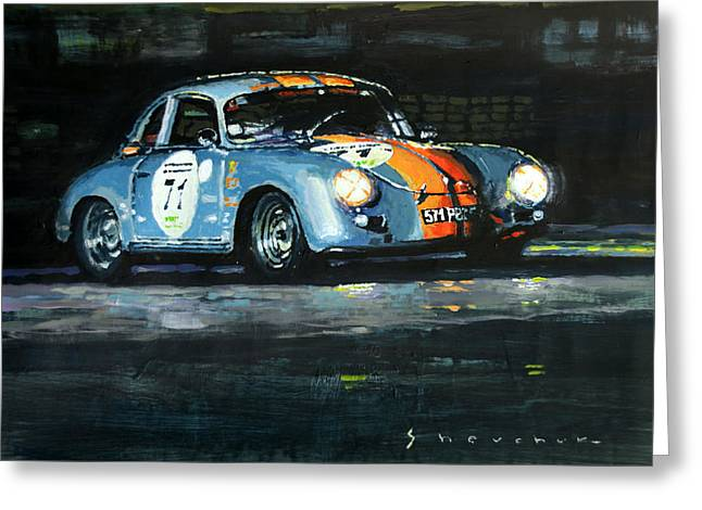 Classic Porsche 356 Greeting Cards - Porsche 356 A 1959 Le Mans Classic 2010 Greeting Card by Yuriy Shevchuk