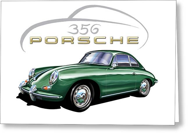 David Kyte Greeting Cards - Porsche 356 Coupe Green  Greeting Card by David Kyte